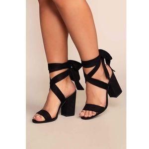 "NWOT ""Avila"" Black Suede Lace Tie Up Heels"